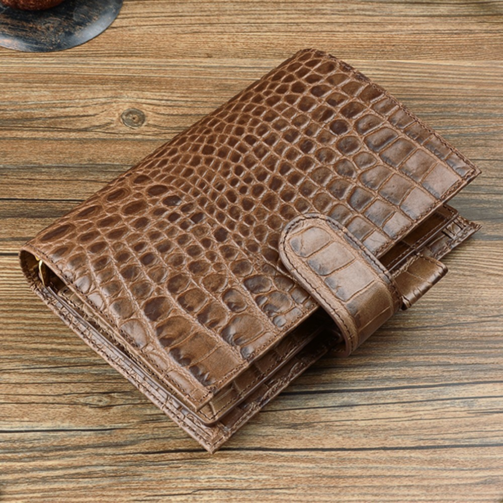 Brand New Alligator Leather Rings Notebook Coffee 192x135mm Personal Diary Gold Binder Daily Planner Agenda Organizer-in Notebooks from Office & School Supplies    1