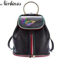 Norbinus Genuine Embossed Leather Rucksack Butterfly Pattern Travel Bag Daypack Famous Brand Retro Small Knapsack Women Backpack