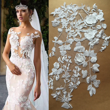 1 pc Beautiful 3D venice lace applique in off white , lace motif patch ,  bridal gown bodice, wedding dress straps 54 x 30 cm 1 pc deluxe 3d luxury bridal gown bodice rhinestone applique in rose gold silver gold wedding gown couture dress motif lace
