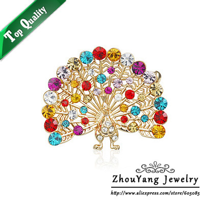 ZYX019 Colorful Peacock Crystal Brooches 18K Champagne Gold Plated  Jewelry Austrian Crystal  Wholesale