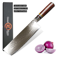 7'' Nakiri Knife 67 Layers Carbon Steel Japanese Damascus Stainless Steel Kitchen Knife Chef Vegetable Knife Gift Box Grandsharp