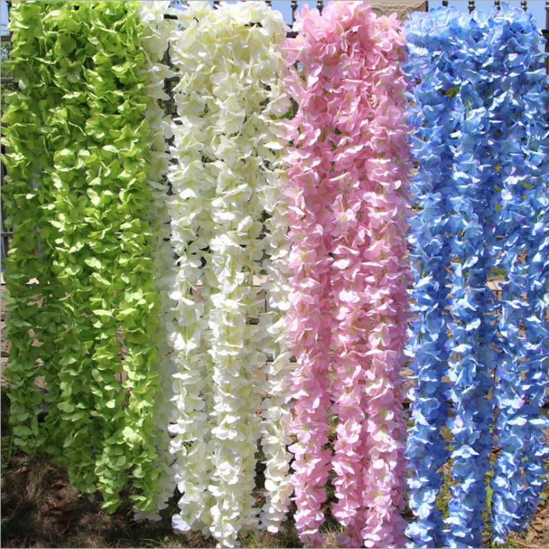 1M/3M Artificial Hydrangea Wisteria Flower For DIY Simulation Wedding Arch Rattan Wall Hanging Home Party Decoration Fake flower