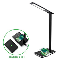 LED Desk Lamp Wireless Charger Folding Dimming Reading Lamps With USB Charging Touch Control Panel 1