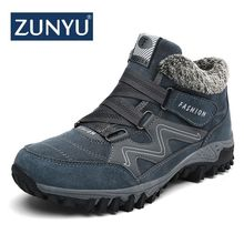 ZUNYU New Men Boots Winter With Plush Warm Snow Boots Casual Men Winter Boots Work Shoes Men Footwear Fashion Ankle Boots 39-46