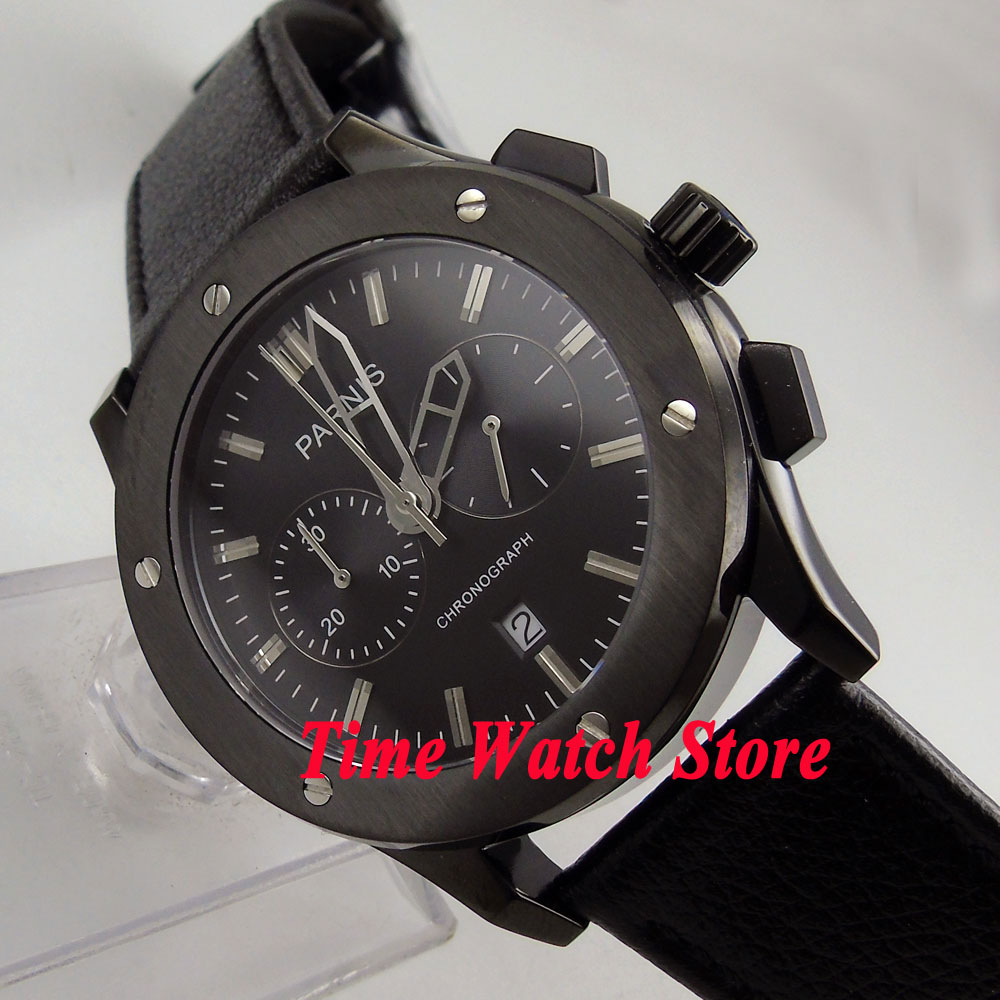 Parnis 44mm PVD CASE Full chronograph quartz Men's watch 630 black dial leather strap deployant clasp цена