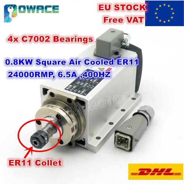 """[מניות איחוד אירופי/משלוח מע""""מ] 0.8KW כיכר אוויר מקורר ציר מנוע ER11 24000 סל""""ד 400Hz 6.5A Engarving כרסום לטחון עבור CNC נתב"""