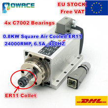 [EUสต็อก/ฟรีVAT] 0.8KW Square Air Cooledมอเตอร์แกนER11 24000RPM 400Hz 6.5A Engarvingเครื่องกัดบดสำหรับCNC Router