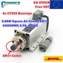 Motor de husillo refrigerado por aire cuadrado para enrutador CNC, 0,8 kW, ER11, 24000rpm, 400Hz, 6,5a