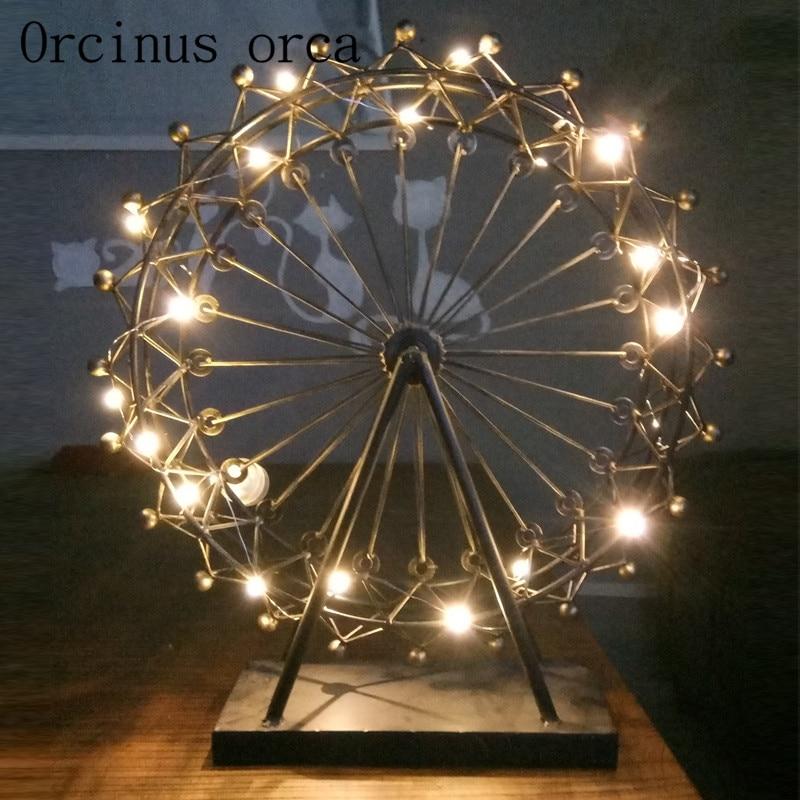 Европейский Стиль колесо обозрения настольная лампа гостиная спальня оригинальность ремесленных настольное украшение лампа бесплатная д...