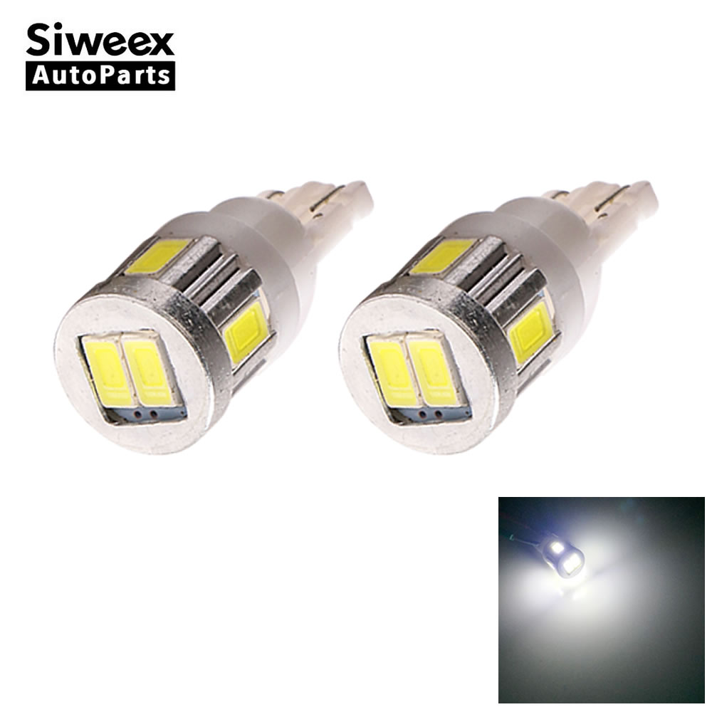 2 Pcs W5W T10 LED Bulbs 6 5730 SMD Turn Signal License Plate Lights 194 147 Trunk Reading Lamp White DC 12V 360 Degree