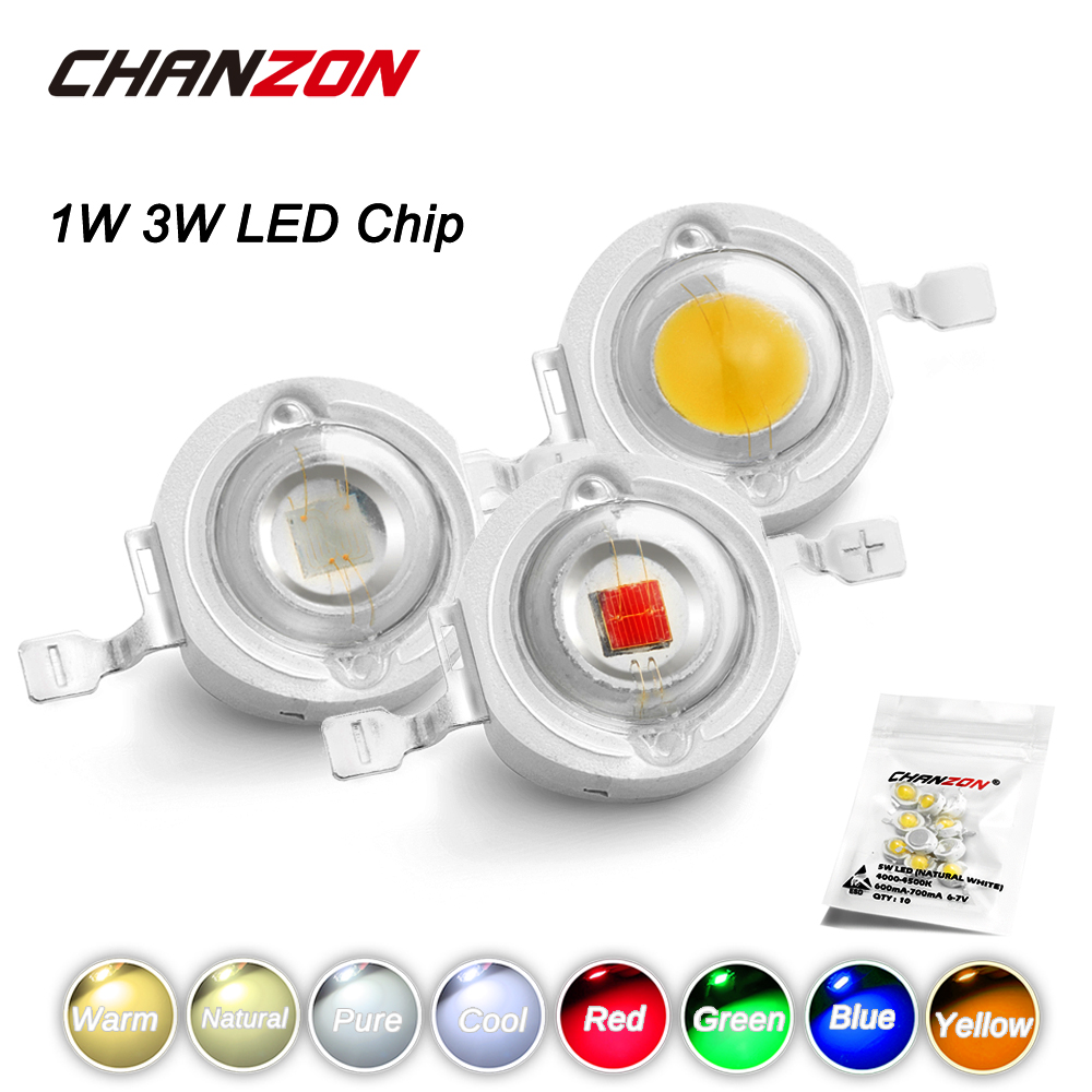 CHANZON 10pcs/lot High Power LED Chip 1W 3W Warm Natural Cold Cool White Red Green Blue Yellow 1 3 W Watt For DIY Spotlight Bulb