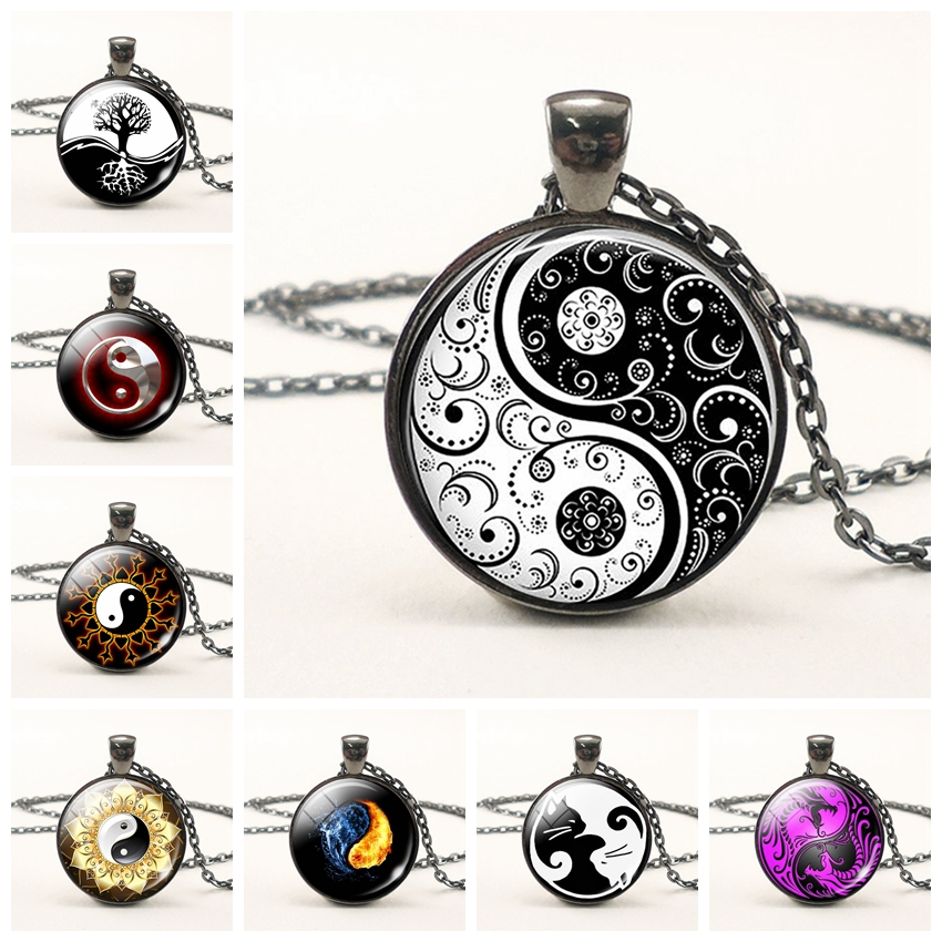 Black White Gothic Yin Yang Necklace Glass Cabochon Pendant Yoga Zen Jewelry Birthday Christmas Gift for Yoga Lover Wholesale