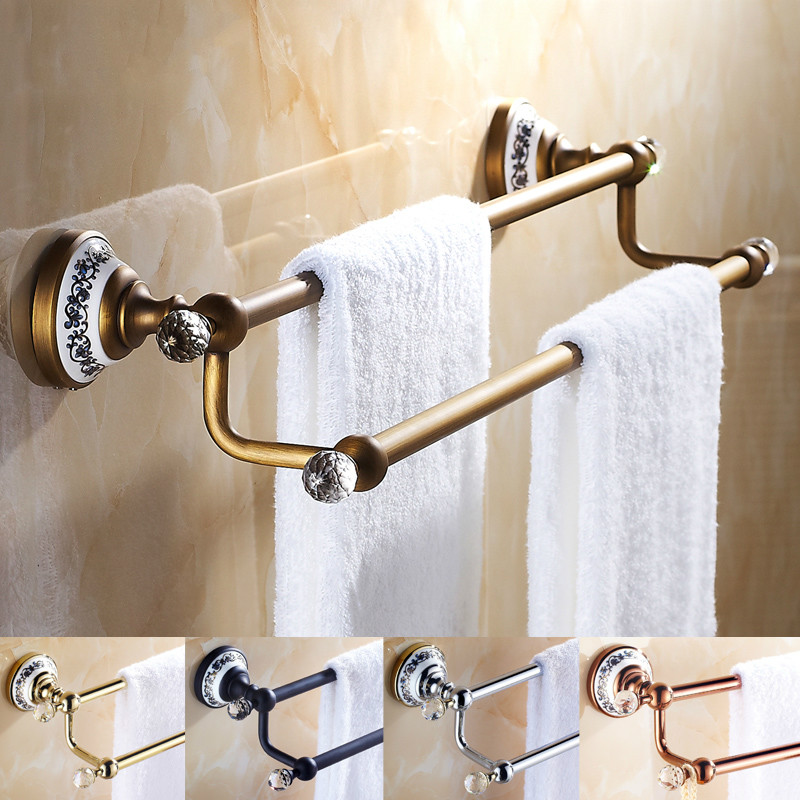 ФОТО European Antique Porcelain Crystal Bathroom Towel Bar Black Double Rod Bathroom Accessories Sets Solid Brass Set