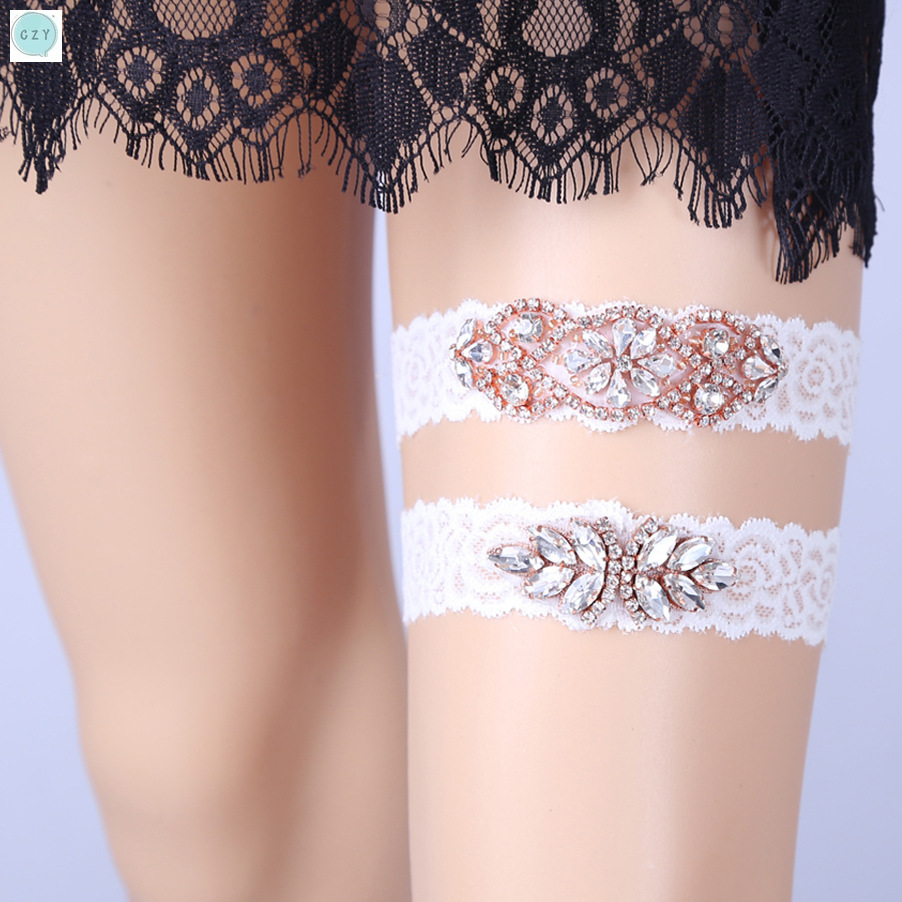 Czy Luxury Palace Style with Double Diamond Bride Garter Lace Thigh Ring Sexy Bride Accessories Pure Lace Decoration Female in Party DIY Decorations from Home Garden
