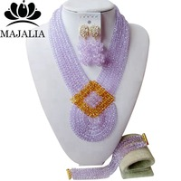 Majalia Fashion Nigeria Wedding African Beads Jewelry Set Lilac Crystal Necklace Bridal Jewelry Sets Free Shipping 6PO029