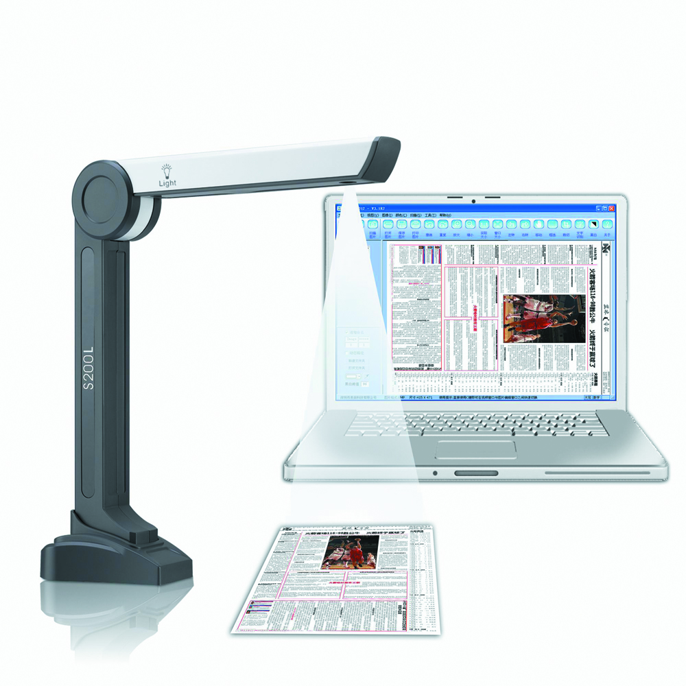 S200L High Speed Portable Document Scanner with 2MP Camera & A4 Size Scanning & 10 languages OCR( optical character recongition) portable high speed usb book image a4 document camera scanner 10 mega pixel hd high definition for classroom office library bank