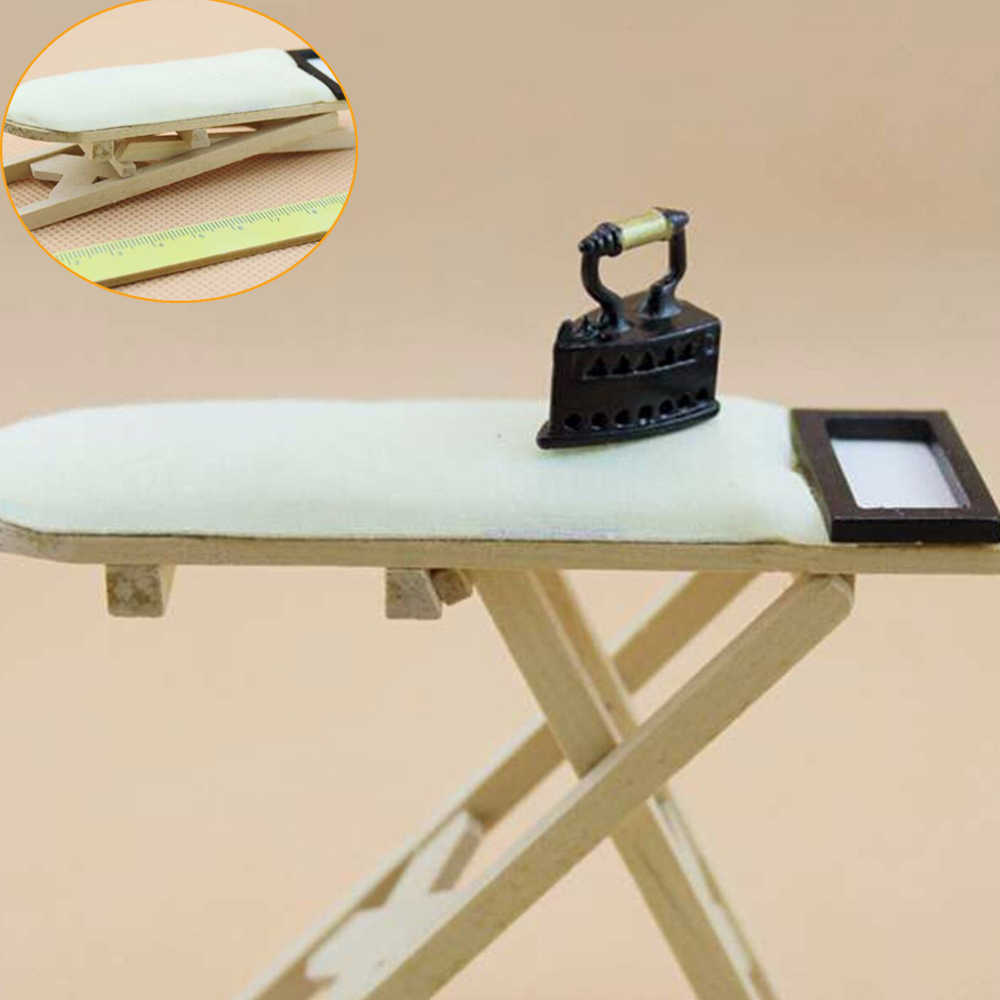 Scale 1: 12 Dollhouse Miniature Iron with Ironing Board Doll House Furniture Dollhouse Room Decoration Children Girls Toy Gift