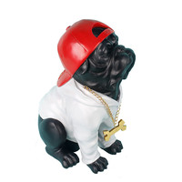 Черный Бульдог бейсболка дизайн ремесла Смола Модель украшения в стиле хип хоп животных ремесленного фигурка домашнего декора подарок на д
