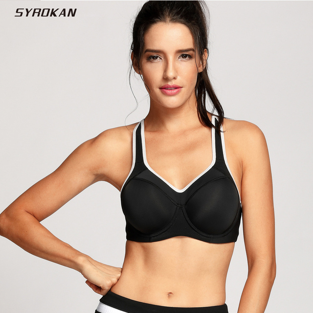 SYROKAN Women s Full Support Racerback Underwire Lightly Padded Sports Bra e74ab0eb1