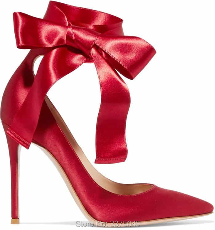 Sexy High Heels Shoes Woman Pumps Red Satin High Heel Wedding Shoes Bridal Ladies Shoes Lace Up Heels peep toes sexy summer wedding shoes satin bridal pumps hs352 handmade lace pearls ladies high quality satin dancing pumps