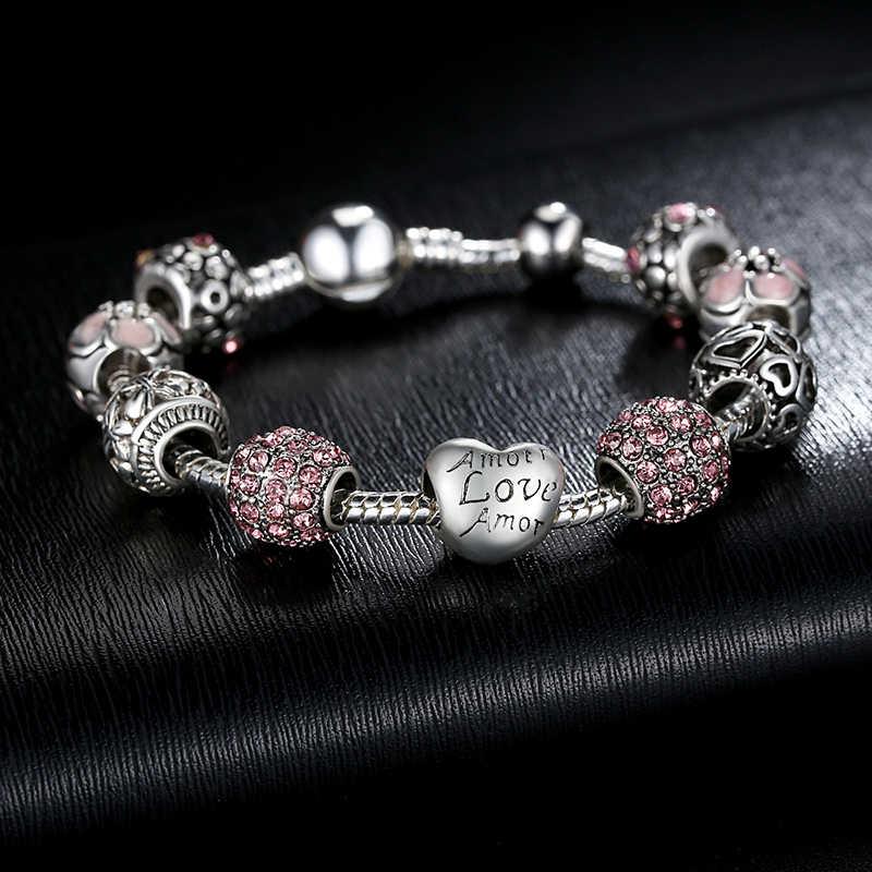 رائجة البيع Amour القلب الحب Amor خرز تميمة سوار للنساء موضة مجوهرات ذاتية الصنع أساور الأصلي هدية SDP1455