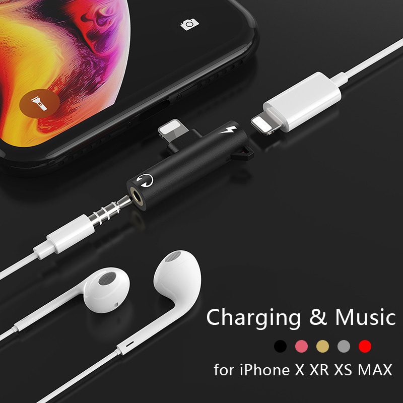 2 In 1 For Iphone To 3.5mm Jack Phone Adaptador For Iphone X 8 7 Plus Headphone Adapter For Iphone Audio Charger Adapter Cable