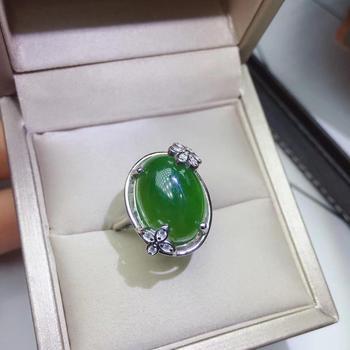 Natural Hetian Jasper Ring Healing Ring Silver For Woman Man Gift 12x16mm Germstone Fasjion Adjustable Ring Drop Shipping AAAAA