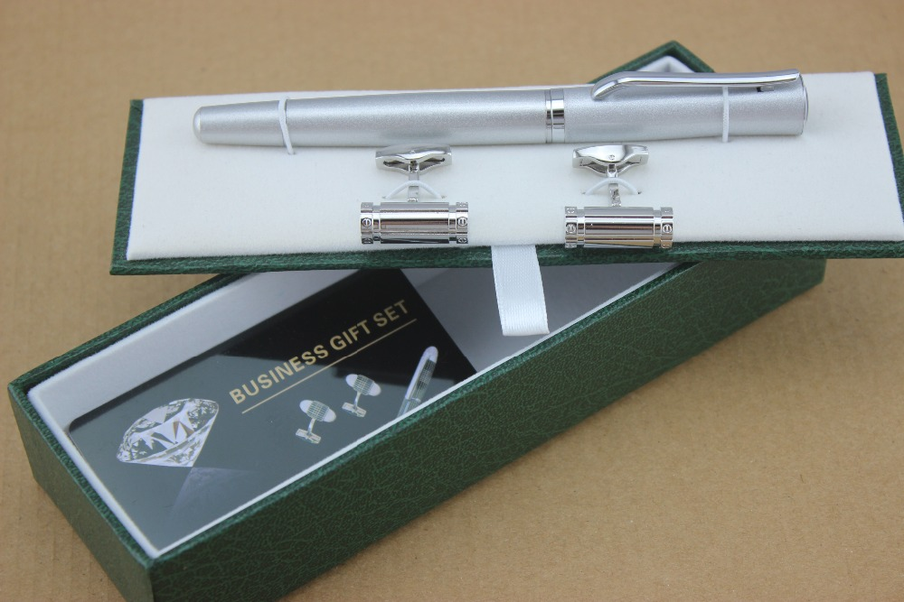 High quality  silvery metal  roller ball pen school office stationery luxury writing and Cufflinks high quality bamboo pole pattern green office stationery birthday present metal roller ball pen business cufflinks set box