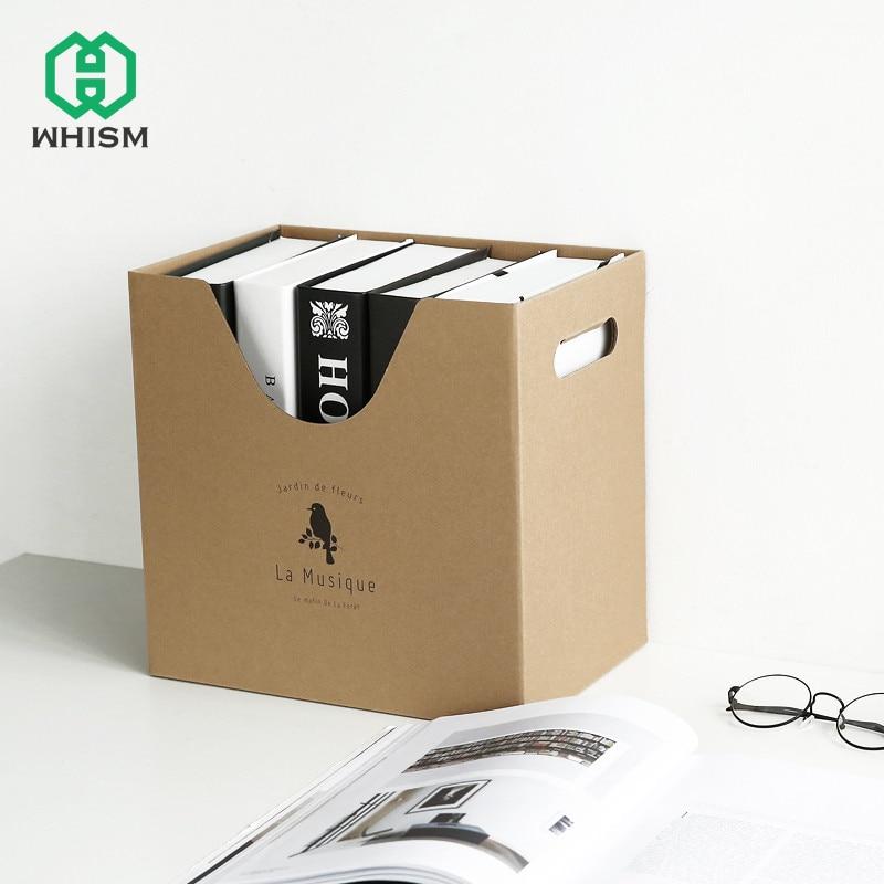 WHISM Paper Office Stationery Storage Book Box Magazine Document Container Desk Makeup Holder Organizer Desktop Big Storage Case