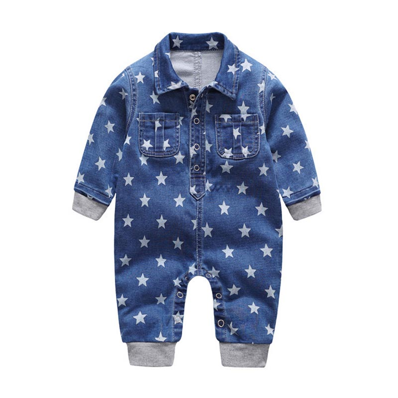 2018 Soft Denim Baby Romper Stars Infant Clothes Newborn Jumpsuit Babies Boy Girls Costume Cowboy Fashion Jeans Children newborn infant baby boys girls hooded romper jumpsuit clothes romper baby clothes baby boy clothes outfits