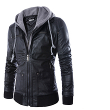 Hooded Leather Bomber Jacket Men New Design Slim Motorcycle Riding Jacket Hoodie Coat Black Thick Warm Zipper Winter Clothing
