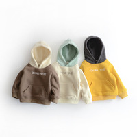 Kids Pullovers Children's Hooded T Shirt Clothes 2019 New Boys and Girls Velvet Top Sweatshirt Toddler Patchwork Long Sleeve Top
