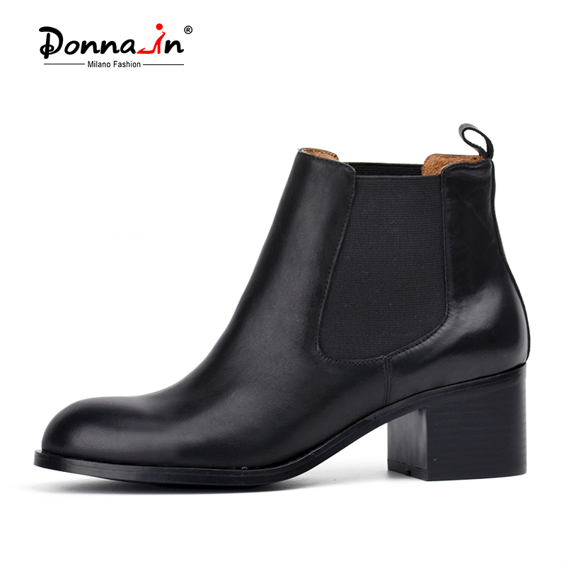 ФОТО Donna-in classic calf leather Chelsea boots round toe low heel womens boots leather lining and sock shoes woman 2017 hot sale