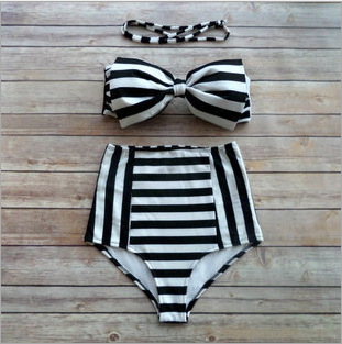 2016 High Waist Bikini Bow Stripe Decorative Padded Push Up High Waist Swimsuit Trajes De Bano Plus Size XXL Bikini Set Biquini купить