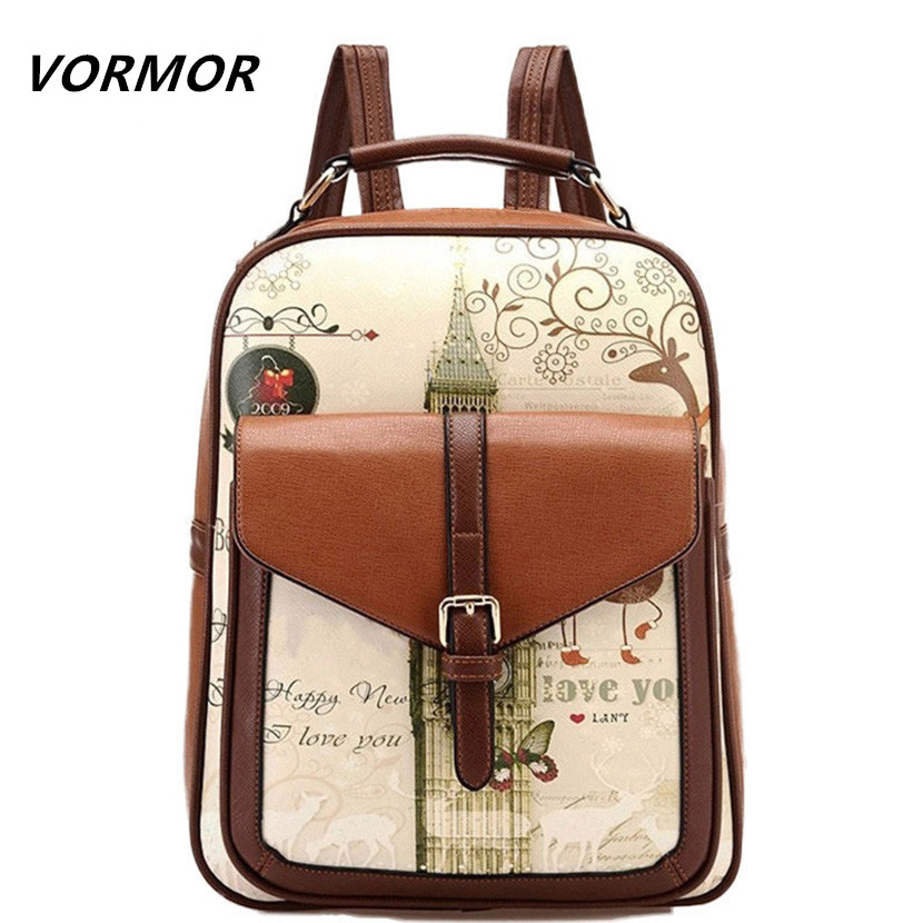 PU Leather Printing Backpack 2017 College Style Women's Backpack, School Bags for Teenagers, ladies bag women mochila feminina
