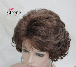 Image 4 - Short Curly Dark Auburn Synthetic Hair Full wig Womens Thick Wigs For Everyday