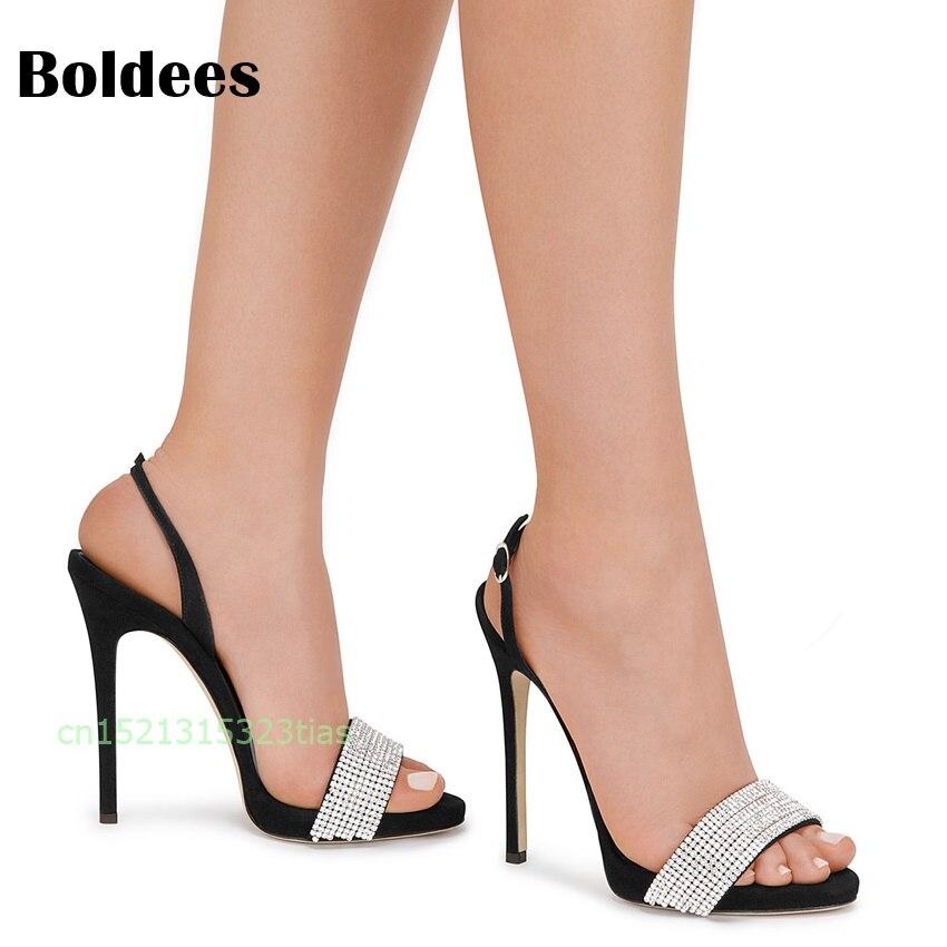 Bout Chaussures Showed Femmes Gladiateur Stiletto Hauts Noir À Sangle D'été Ouvert Sandales Cristal Cheville La As Color Talons dCoerBWEQx