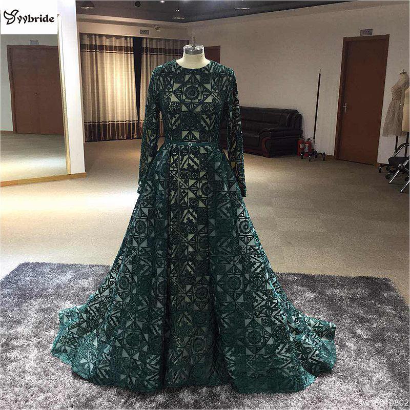 NºReal Sample Dubai Fashion Dark Green Long Evening Gowns Caftan ...