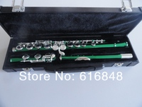 Green Flute Nickel Silver Keys 16 Hole Closed Plus The E Key Obturator Flute Instrument For students With Box Free Shipping
