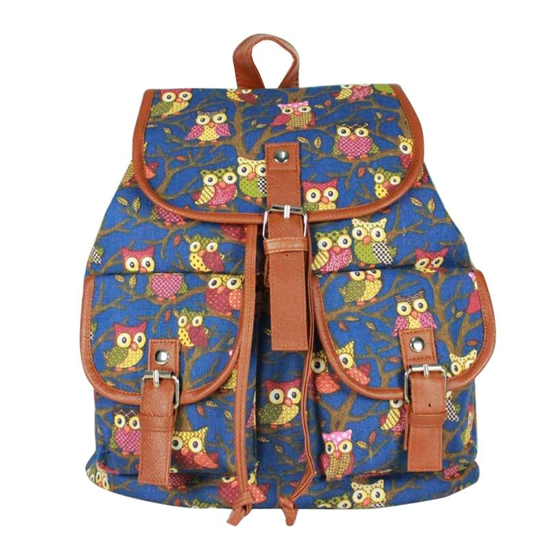 Anti Theft Drawstring Backpack Vintage Owl Canvas Backpack,School Teenage Girls School Backpack Rugzak T25