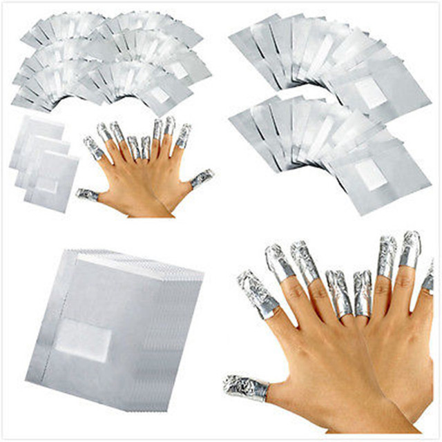Hot New Arrival 100pcs Aluminium Foil Nail Art Soak Off Acrylic Gel Polish Wraps Remover