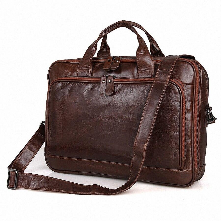Schulter 1754 Laptop 14 Reise Handtasche Li Coffe Bags Echtes Messenger Aktentasche tasche Männer Leder Laptop Zoll Tote Business CwxnfWSaqP