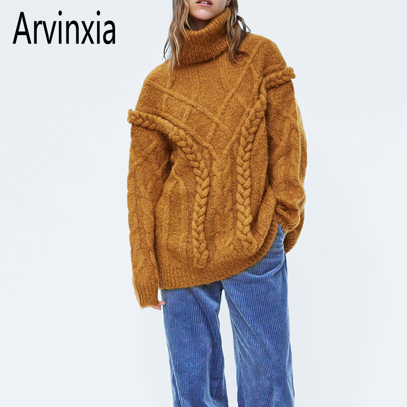 521bd0c26a2 Arvinxia ZA Fashion Solid Criss-Cross Women Sweaters New Arrivals Long  Sleeves Woman Pullovers Winter Turtleneck Hollow Out Tops ~ Free Delivery June  2019