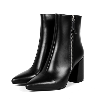 AnmaiRon  Basic Pointed Toe Square  Elegant High  Heel  Boots  Women Winter Boots  Ankle Boots for Women Size 34-39 LY014