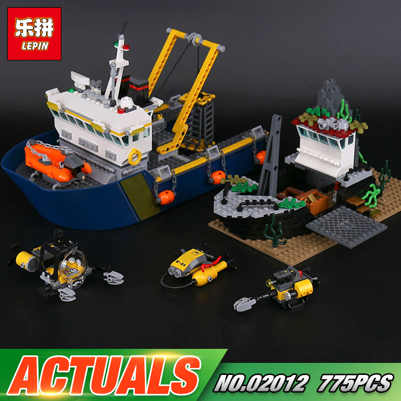 Lepin 02012 Genuine 775Pcs City Series The Deep Sea Exploration Vessel Set 60095 Building Blocks Bricks As Funny Christmas Gifts цена
