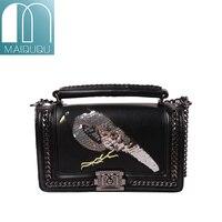 MAIDUDU Bird Pattern Embroidery Luxury Chain Womens Handbags 2018 New Popular Top Handle Flap Female Shoulder