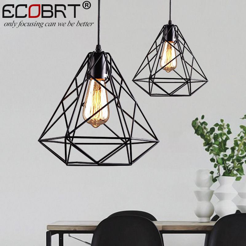 Modern Loft Black Cord Pendant Lamps Lights Europe Style hanging Pendant Lighting fixtures with E27 socket  110v / 220v