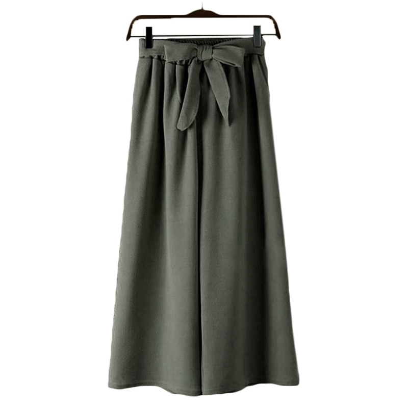 One Size   Wide     Leg     Pants   Culotte   Pants   Woman Ladies Elastic Waist Ankle Chiffon