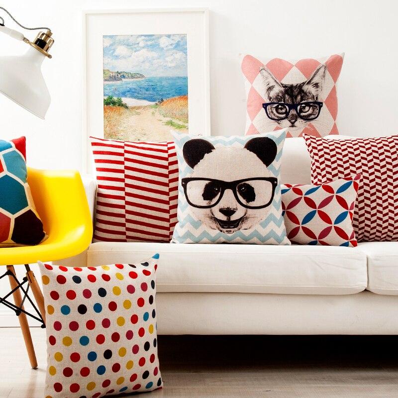 cat cushion cover modern geometric decorative throw pillows case panda plaid purple pillow sofa couch cushion