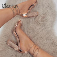 Women Sandals Shoes High Heels Sandals Block Chunky Heels Rose Gold 11cm Lace Up Ankle Strap Sandals Open Toe Size 43